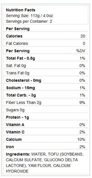 Tofu shirataki noodles nutrition info